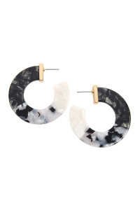 S6-5-3-AHDE2311BK BLACK MULTI-TONE MARBLE RESIN POST HOOP EARRINGS/6PCS