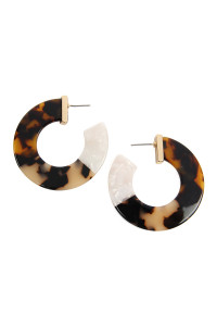 S6-5-3-AHDE2311LEO LEOPARD MULTI-TONE MARBLE RESIN POST HOOP EARRINGS/6PCS