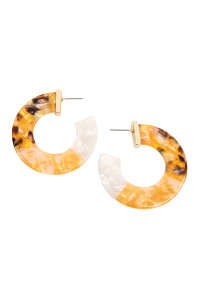 S6-5-3-AHDE2311YW YELLOW MULTI-TONE MARBLE RESIN POST HOOP EARRINGS/6PCS