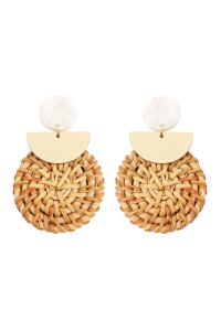 S6-5-4-AHDE2312NA NATURAL RESIN WITH DROP RATTAN ORNAMENT POST EARRING/6PCS