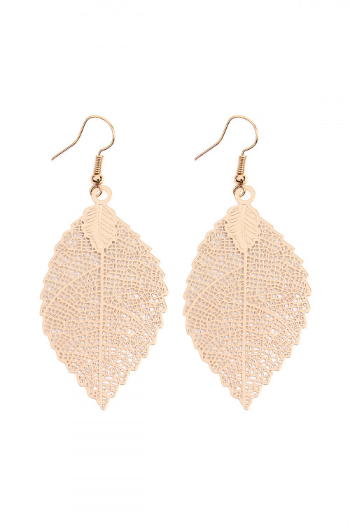 A2-3-3-AHDE2317G GOLD FILIGREE LEAF HOOK EARRINGS/6PCS