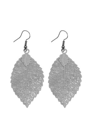 S4-6-3-AHDE2317H HEMATITE FILIGREE LEAF HOOK EARRINGS/6PCS