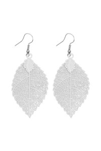 S6-5-3-AHDE2317R SILVER FILIGREE LEAF HOOK EARRINGS/6PCS