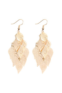 S6-5-4-AHDE2318G GOLD DANGLING FILIGREE LEAF EARRINGS/6PCS