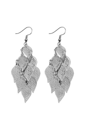 S6-5-4-AHDE2318H HEMATITE DANGLING FILIGREE LEAF EARRINGS/6PCS