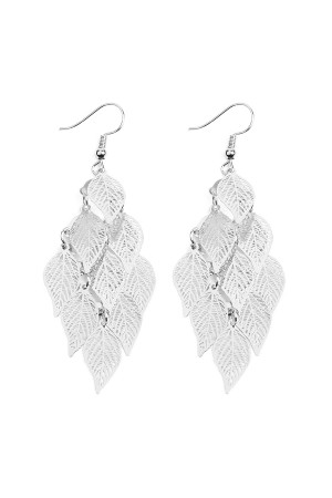 S7-5-2-AHDE2318R SILVER DANGLING FILIGREE LEAF EARRINGS/6PCS
