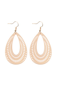 S7-5-3-AHDE2319G GOLD CHEVRON TEARDROP HOOK EARRINGS/6PCS