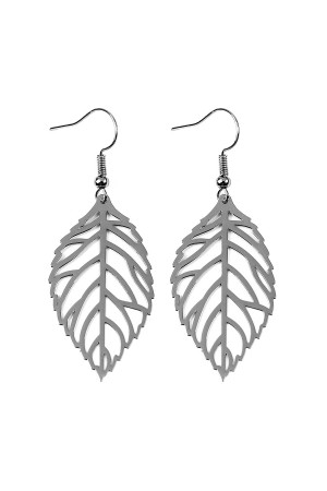 A1-3-2-AHDE2321H HEMATITE SMALL LEAF CAST HOOK EARRINGS/6PCS