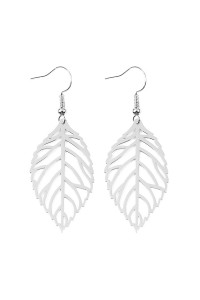 S7-5-3-AHDE2321R SILVER SMALL LEAF CAST HOOK EARRINGS/6PCS