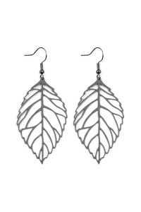 S7-5-3-AHDE2322H HEMATITE LARGE LEAF CAST HOOK EARRINGS/6PCS