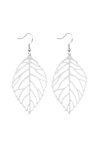 S6-6-2-AHDE2322R SILVER LARGE LEAF CAST HOOK EARRINGS/6PCS