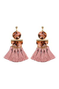 SA3-2-2-AHDE2324DPK DUSTY PINK DANGLING RESIN WITH TASSEL EARRINGS/6PAIRS