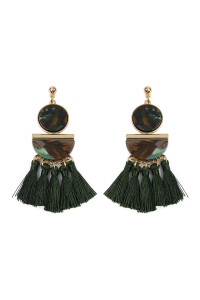 A1-1-4-AHDE2324GR GREEN DANGLING RESIN WITH TASSEL EARRINGS/6PAIRS