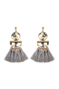 SA3-2-2-AHDE2324GY GRAY DANGLING RESIN WITH TASSEL EARRINGS/6PAIRS