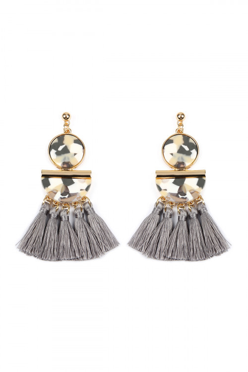 A1-1-4-AHDE2324GY GRAY DANGLING RESIN WITH TASSEL EARRINGS/6PAIRS