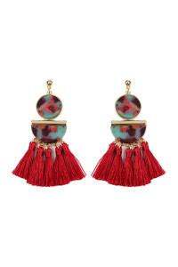 A2-2-3-AHDE2324RD RED DANGLING RESIN WITH TASSEL EARRINGS/6PAIRS