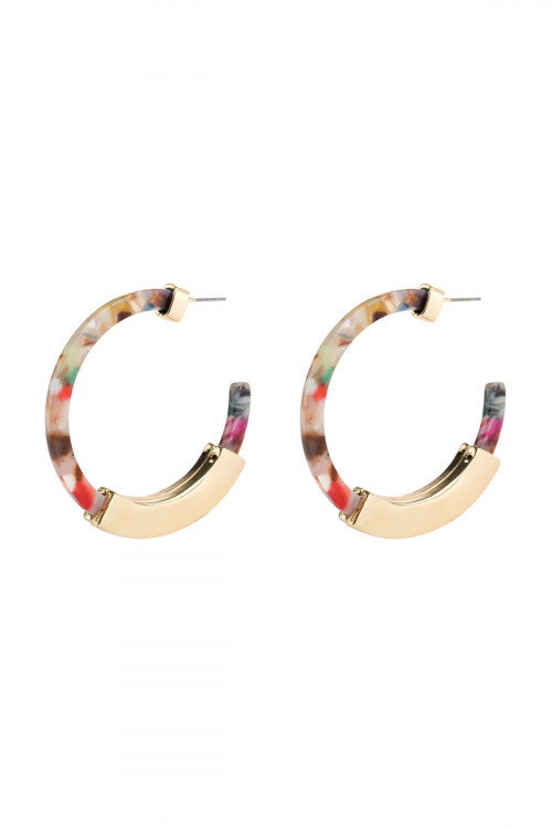 A3-2-3-AHDE2327LMT LIGHT MULTI COLOR  HOOP RESIN HALF METAL CAST POST EARRINGS/6PAIRS
