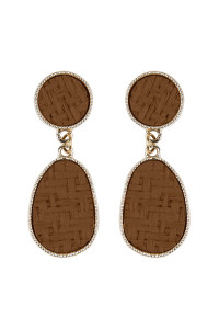 SA3-2-4-AHDE2338BR BROWN WEAVED STRAW DANGLE DROP EARRINGS/6PAIRS