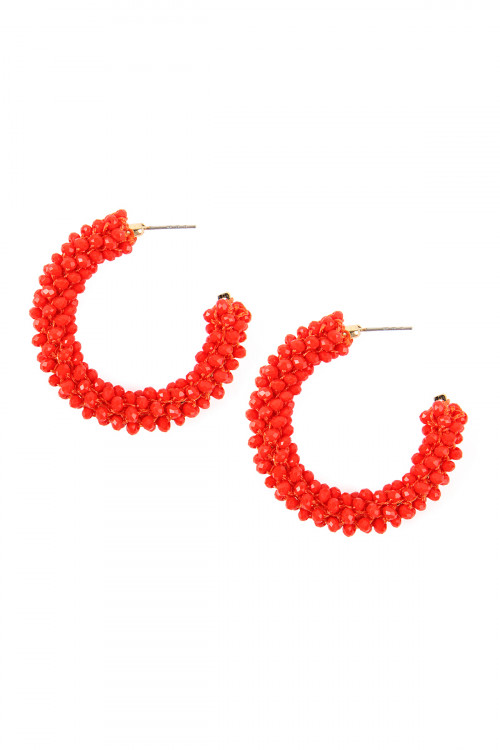 SA3-3-3-AHDE2339CO CORAL GLASS BEADS POST HOOP EARRINGS/6PAIRS
