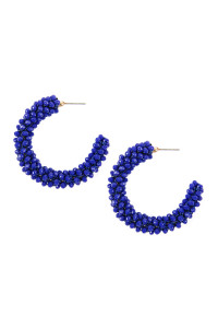 SA3-3-3-AHDE2339SP SAPPHIRE GLASS BEADS POST HOOP EARRINGS/6PAIRS