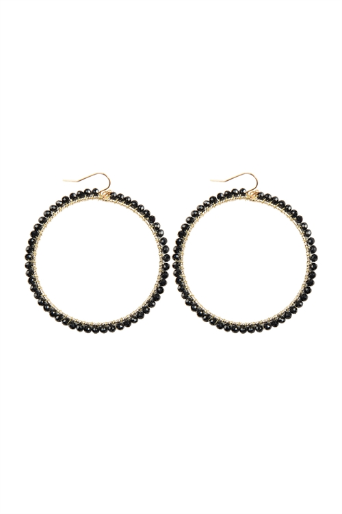 A3-2-4-AHDE2341BK BLACK WIRE HOOP WITH GLASS BEADS HOOK EARRINGS/6PAIRS