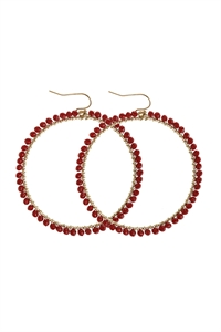 A3-1-5-AHDE2341BU BURGUNDY WIRE HOOP WITH GLASS BEADS HOOK EARRINGS/6PAIRS