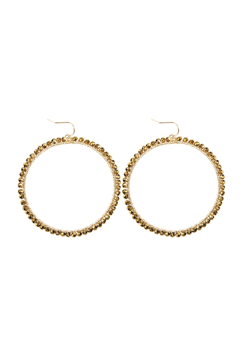 A3-2-4-AHDE2341G GOLD WIRE HOOP WITH GLASS BEADS HOOK EARRINGS/6PAIRS