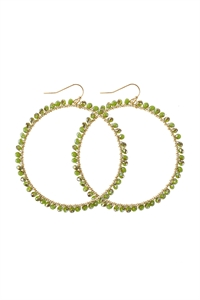 A1-2-5-AHDE2341GR GREEN WIRE HOOP WITH GLASS BEADS HOOK EARRINGS/6PAIRS