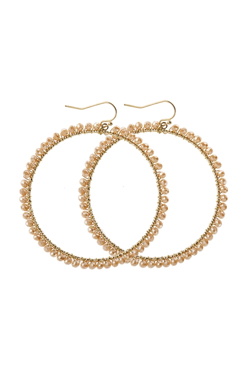 A1-2-5-AHDE2341LBR LIGHT BROWN WIRE HOOP WITH GLASS BEADS HOOK EARRINGS/6PAIRS