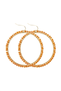 A3-1-5-AHDE2341ORAB AB ORANGE WIRE HOOP WITH GLASS BEADS HOOK EARRINGS/6PAIRS