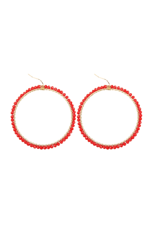 A3-2-4-AHDE2341RD RED WIRE HOOP WITH GLASS BEADS HOOK EARRINGS/6PAIRS