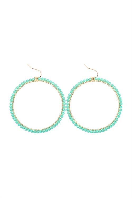 A1-1-4-AHDE2341TQ TURQUOISE WIRE HOOP WITH GLASS BEADS HOOK EARRINGS/6PAIRS