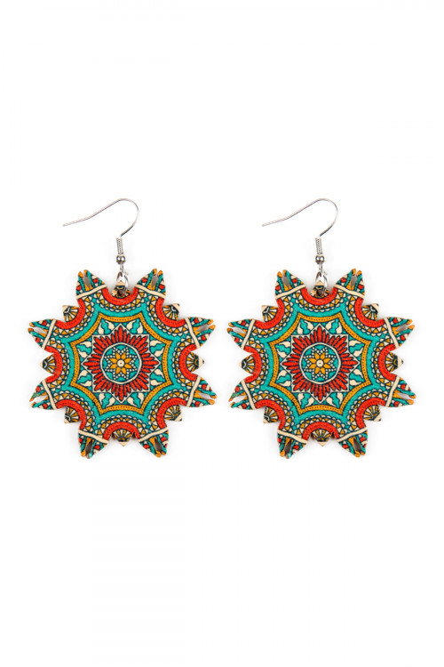 A1-2-5-AHDE2351-4 STYLE 4 MANDALA ORNAMENT WOOD DROP EARRINGS/6PAIRS