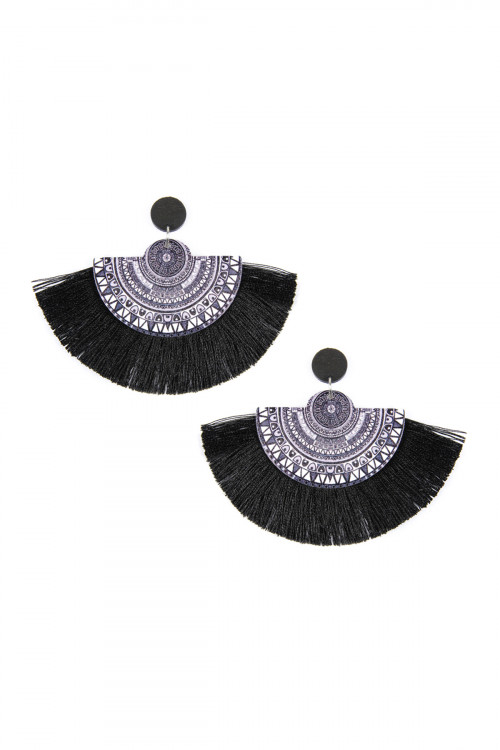 A1-1-5-AHDE2354BK BLACK MANDALA FAN WOOD TASSEL DROP EARRINGS/6PAIRS