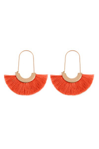 SA4-3-4-AHDE2434CO CORAL ARC BASE WITH TASSEL HOOP EARRINGS/6PAIRS