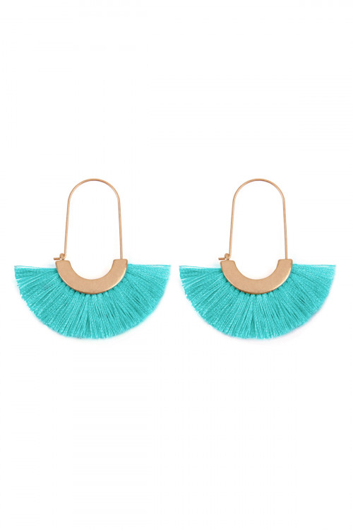 A2-1-3-AHDE2434TQ TURQUOISE ARC BASE WITH TASSEL HOOP EARRINGS/6PAIRS
