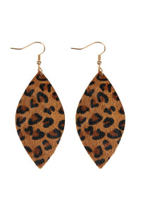 SA3-1-2-AHDE2436BR BROWN LEOPARD MARQUISE LEATHER HOOK EARRINGS/6PAIRS