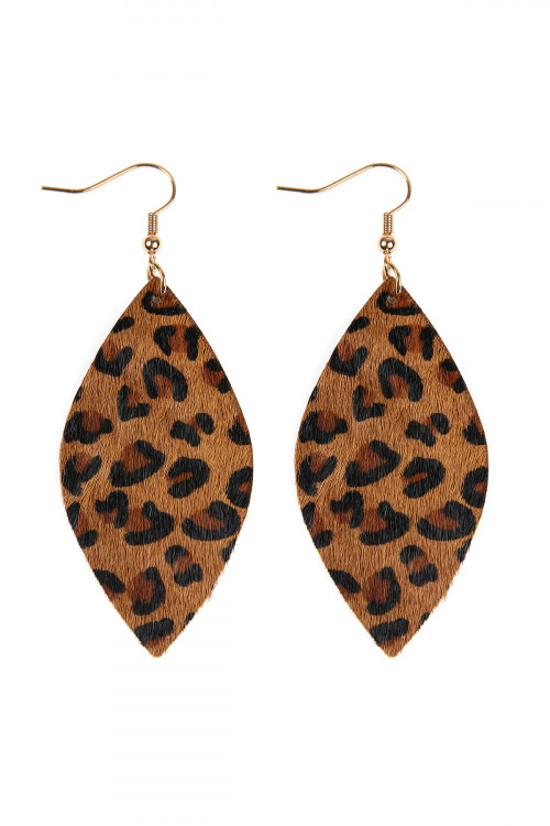 S22-6-2-HDE2436BR BROWN LEOPARD MARQUISE LEATHER HOOK EARRINGS/6PAIRS