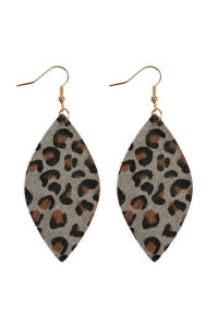 SA3-1-3-AHDE2436GY GRAY LEOPARD MARQUISE LEATHER HOOK EARRINGS/6PAIRS
