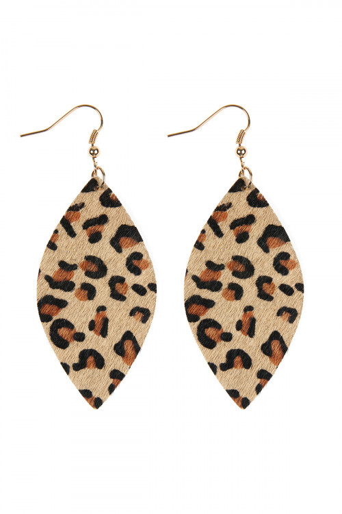 S22-6-2-HDE2436LBR LIGHT BROWN LEOPARD MARQUISE LEATHER HOOK EARRINGS/6PAIRS
