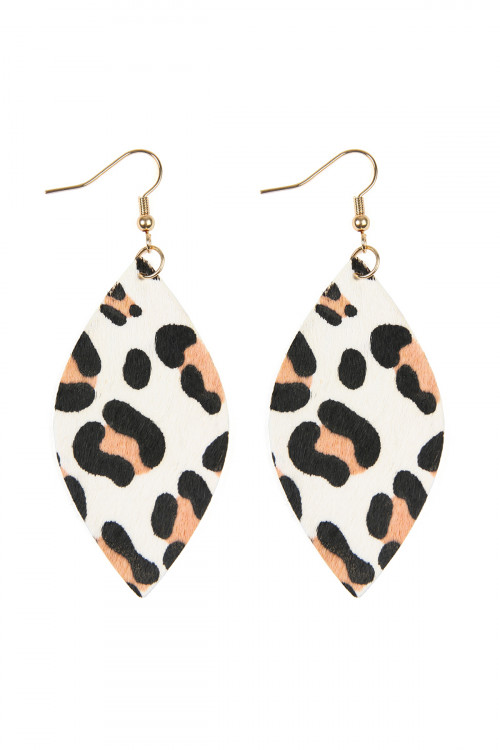 A3-2-4-AHDE2436WT WHITE LEOPARD MARQUISE LEATHER HOOK EARRINGS/6PAIRS