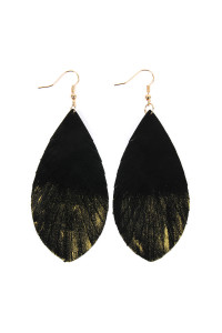 SA3-2-4-AHDE2442BKG BLACK GOLD GRUNGE TONE FRINGED DROP LEATHER EARRINGS/6PAIRS