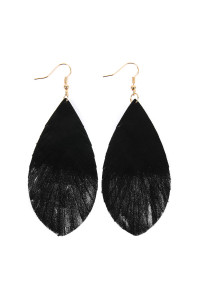 SA3-2-2-AHDE2442BKS BLACK SILVER GRUNGE TONE FRINGED DROP LEATHER EARRINGS/6PAIRS