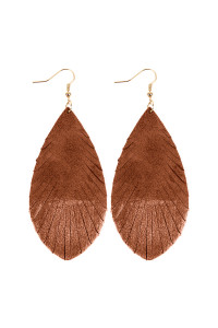 SA3-2-2-AHDE2442BR BROWN GRUNGE TONE FRINGED DROP LEATHER EARRINGS/6PAIRS