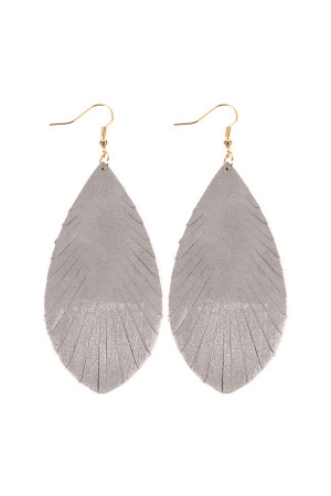 SA3-2-2-AHDE2442GY GRAY GRUNGE TONE FRINGED DROP LEATHER EARRINGS/6PAIRS