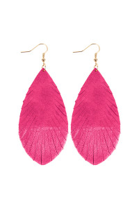 SA3-2-4-AHDE2442HP HOT PINK GRUNGE TONE FRINGED DROP LEATHER EARRINGS/6PAIRS