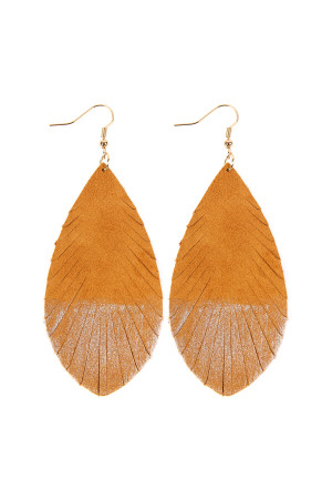 SA3-2-2-AHDE2442KH KHAKI GRUNGE TONE FRINGED DROP LEATHER EARRINGS/6PAIRS