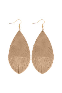 SA3-2-4-AHDE2442LBR LIGHT BROWN GRUNGE TONE FRINGED DROP LEATHER EARRINGS/6PAIRS