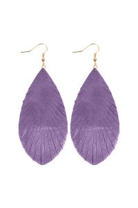 SA3-2-4-AHDE2442LV LAVENDER GRUNGE TONE FRINGED DROP LEATHER EARRINGS/6PAIRS