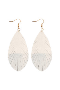 SA3-2-4-AHDE2442NA NATURAL GRUNGE TONE FRINGED DROP LEATHER EARRINGS/6PAIRS